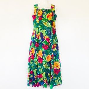 Vintage Floral Beaded Hawaiian Midi Dress Sabino 8